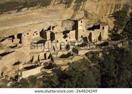 Cliff Palace cliff dwelling Indian ruin, the largest in North America, Mesa Verde National Park, Southwestern Colorado