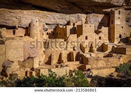 Cliff Palace Indian Ruins, Mesa Verde National Park, Colorado. This spectacular ruin is the largest in all of North America, comprising over 150 rooms. It was built by the Anasazi around 1200 AD. Stock photo ©
