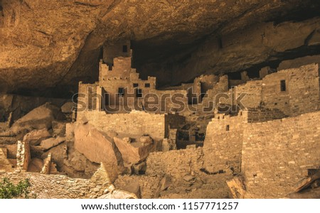 Cliff Palace, the largest cliff dwelling in Mesa Verde National Park outside of Cortez, Colorado USA.  This area was occupied by the Ancestral Puebloans (previously called the Anasazi).