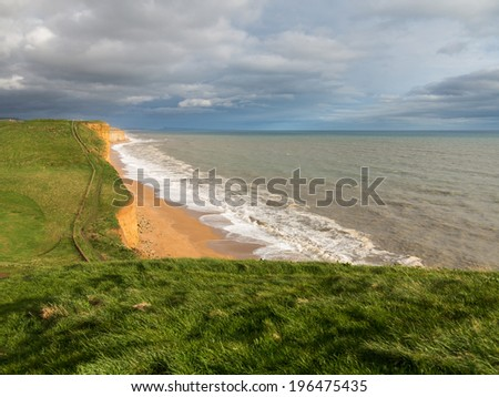 Cliff top path along the headland on Jurassic Coast cliffs  at West Bay in Dorset. This was used as the location for the Broadchurch TV series