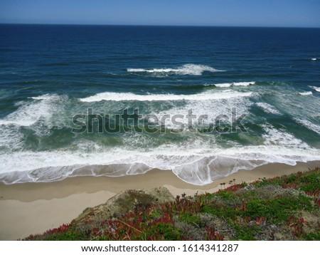 Cliff view overlooking the shoreline of the ocean