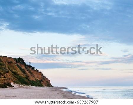 Cliffed coast of the Black Sea in Odessa Region in Ukraine. #639267907