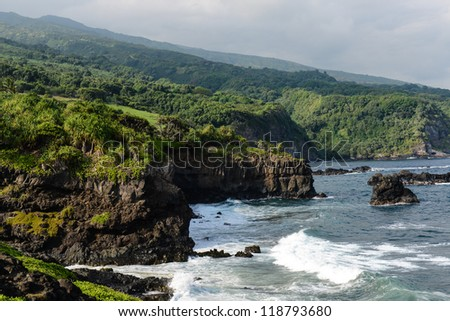Cliffs along the Road to Hana in Maui, Hawaii