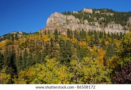 Cliffs and forest in fall colors in Spearfish Canyon, South Dakota