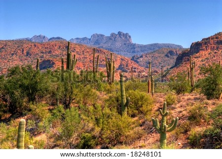 Cliffs and rock formations in arizona mountains