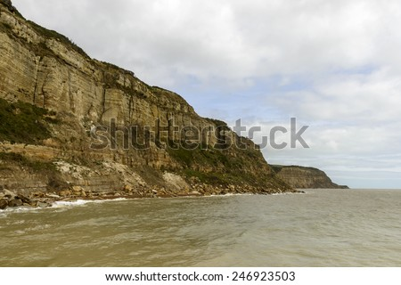 cliffs at  Hastings, landscape of coastline with steep cliffs at historic village of Hastings, East Sussex