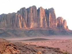 Cliffs at sunrise in Wadi Rum in Jordan in the Middle East