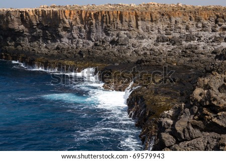 Cliffs at the coastline of Sal on Cabo Verde