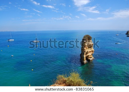 Cliffs at the Dona Ana beach, Algarve coast in Portugal - stock photo