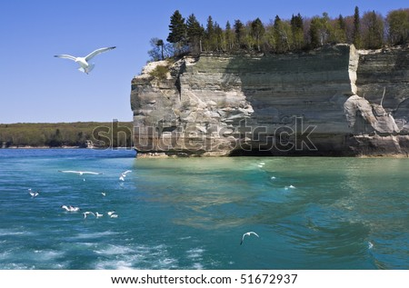 Cliffs in Pictured Rocks National Lakeshore - stock photo