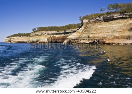 Cliffs in Pictured Rocks National Lakeshore, Michigan.