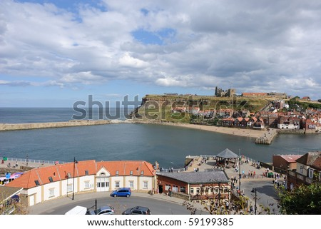 Cliffs in Whitby, England.