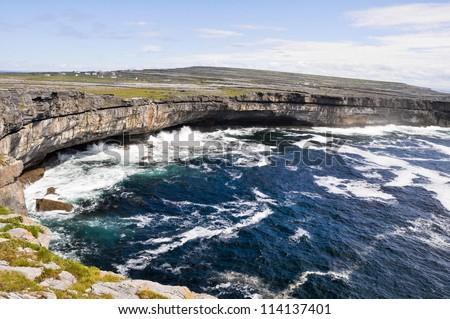 Cliffs near Dun Aengus, Inishmore, Aran islands in Ireland