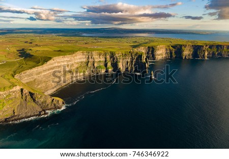 Cliffs of moher aerial , county clare, ireland. unesco global geopark European Atlantic Geotourism Route landscape and seascape tourism attraction along the wild atlantic way. beautiful rural ireland - Shutterstock ID 746346922