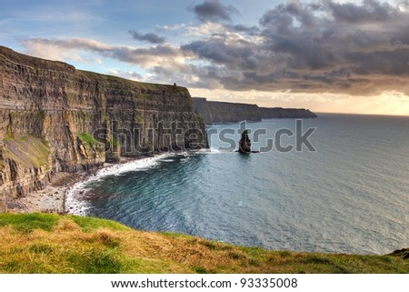 Cliffs of Moher at sunset, Co. Clare, Ireland.