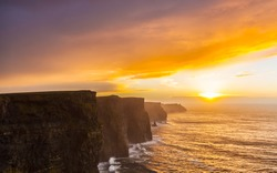 Cliffs of Moher at sunset in Co. Clare Ireland Europe. Beautiful landscape.