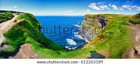Cliffs Of Moher, County Clare, Ireland. Panoramic. Stock fotó ©