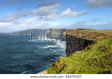 Cliffs of Moher in Ireland, reach their maximum height of 214 meters.