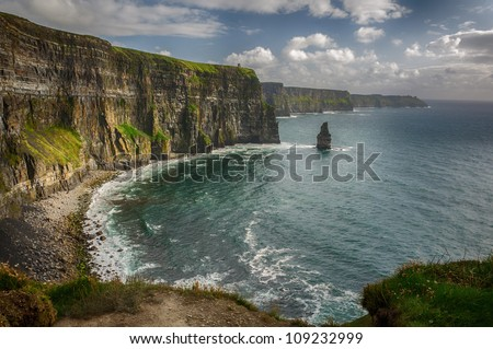 Cliffs of Moher, O Briens Tower, County Clare, Ireland.