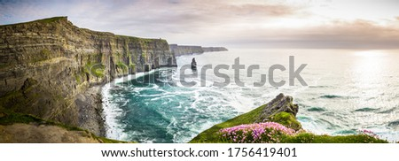 Cliffs of Moher Panorama in Ireland,Sea, Ocean, Coast, Atlantic, Cliffs, Rock, Landscape, Nature Stock fotó ©