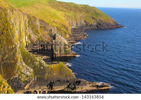 Cliffs of Old Head of Kinsale touched by sunset light . Ireland