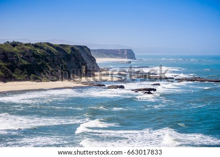 Cliffs on the Pacific Ocean coastline near Half Moon Bay, California