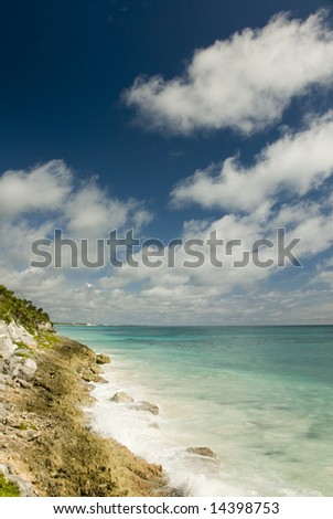 Cliffs Overlooking the Beach and Carribean Sea, Tulum, Quintana Roo, Mexico
