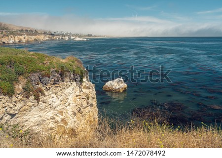 Cliffs, Pacific Ocean. Shell Beach Area of Pismo Beach, California.Beautiful Place for Birdwatching, Kayaking, Snorkeling, Fishing