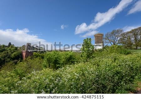 Clifton bridge is suspension bridge over river Avon in Bristol UK #424875115