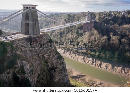 Clifton suspension bridge, built by Isambard Kingdom Brunel in 1864 and River Avon