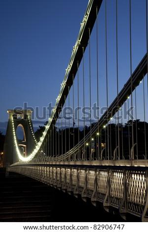 Clifton Suspension Bridge by Brunel, Illuminated at Night, England, UK