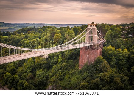 Clifton suspension bridge on a cloudy day, Bristol, England #751865971