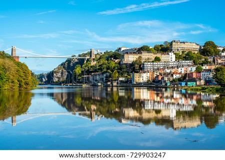 Stock Photo Clifton Suspension Bridge with Clifton and reflection, Bristol UK