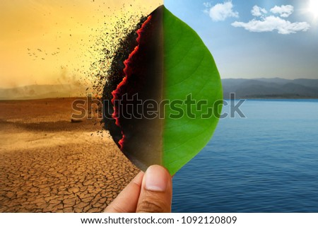 Climate change and Global warming concept. Burning leaf at land of cracked earth metaphor drought and Green leaf with river and beautiful clear sky metaphor Abundance of Nature. #1092120809