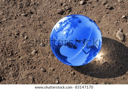 climate change concept with earth planet on dry soil and copyspace