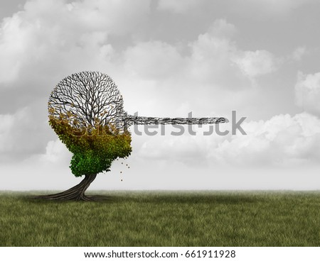 Climate change denier concept as a dying sick tree shaped as a human head with a long nose as an environmental metaphor symbol for global warming disinformation with 3D illustration elements. Сток-фото ©