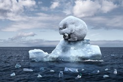 climate change. garbage patch. the bear cries closing its face with its paws. polar bear sits on a melting glacier in the middle of the ocean. ecological catastrophy