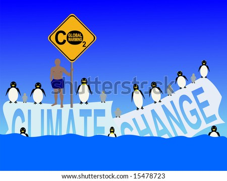 climate change with penguins and man in shorts illustration JPG
