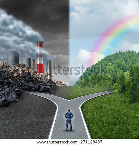 Climate choice concept as a person standing at a cross road between an unhealthy scene with polluted dirty air contrasted with a green healthy horizon of plants and clean air for global ecology.