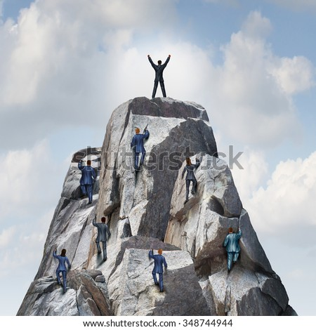 Climb to the top career business concept as a group of businesspeople climbing a rock mountain with one individual leader reaching the summit or peak as a success metaphor.