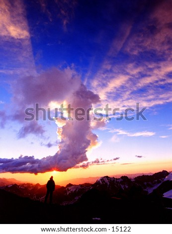 Climber at sunset at Camp 2 on Aconcagua - South America\'s highest Mountain
