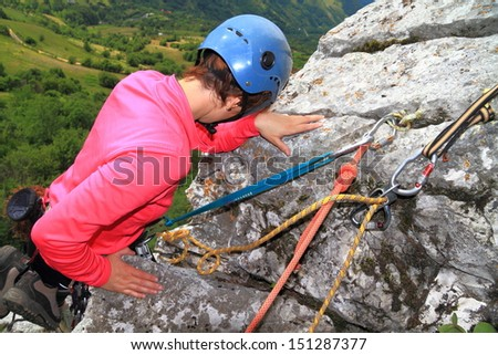 Climber at the belay station