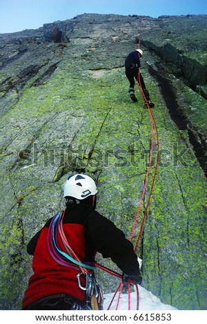 Climber during a double rope descent