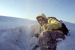 Climber in a snow storm