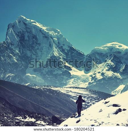 climber in himalayan mountain...