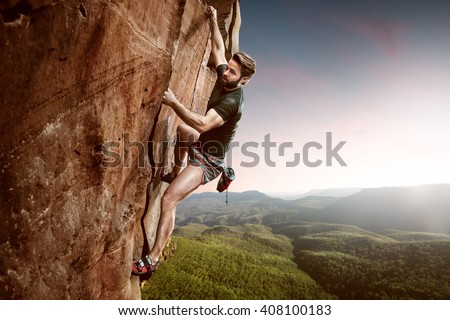Climber on a cliff