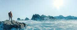 Climber on a summit freedom