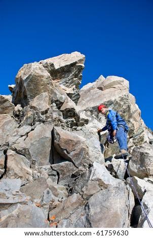Climber on the mountain summit