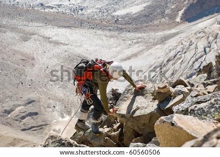 climber on the rocks