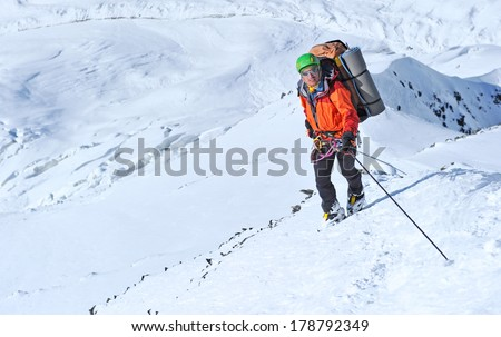 Climber on the snowy mount
